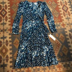 NWT Calvin Klein blue floral ruffled dress size 10
